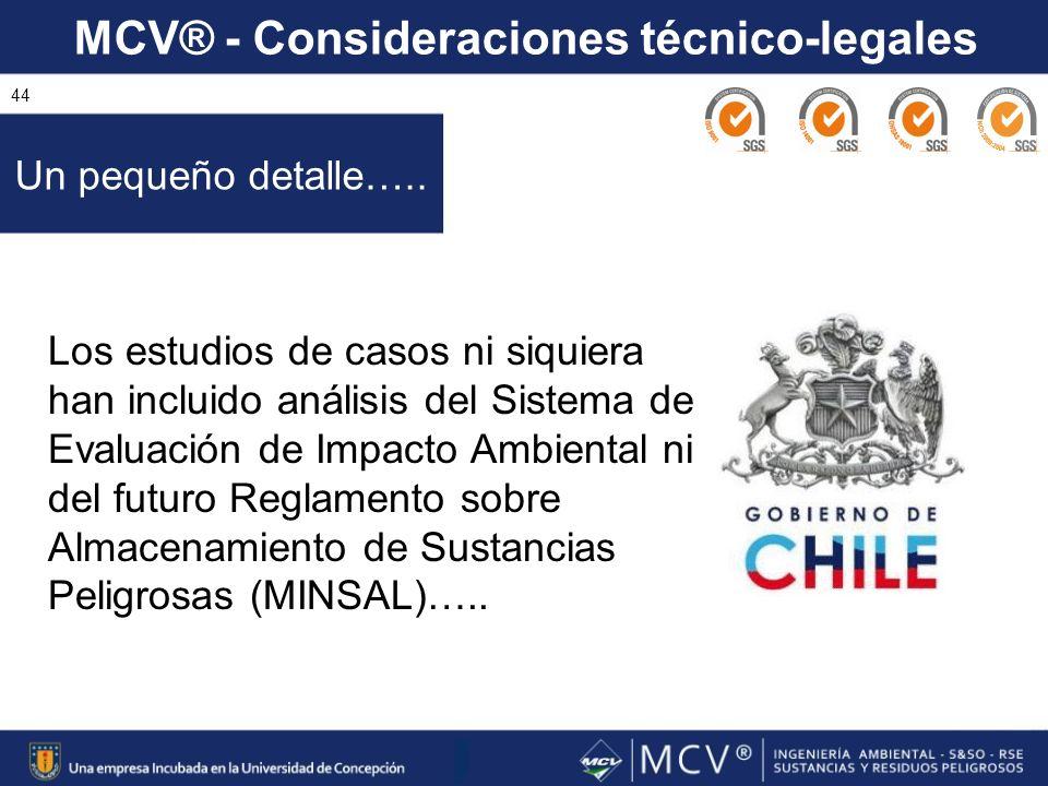 MCV® - Consideraciones técnico-legales 44 Un pequeño detalle….. Los estudios de casos ni siquiera han incluido análisis del Sistema de Evaluación de I