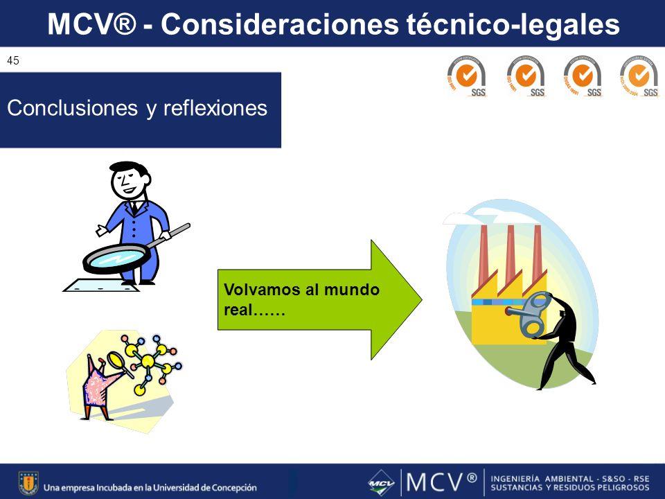 MCV® - Consideraciones técnico-legales 45 Conclusiones y reflexiones Volvamos al mundo real……