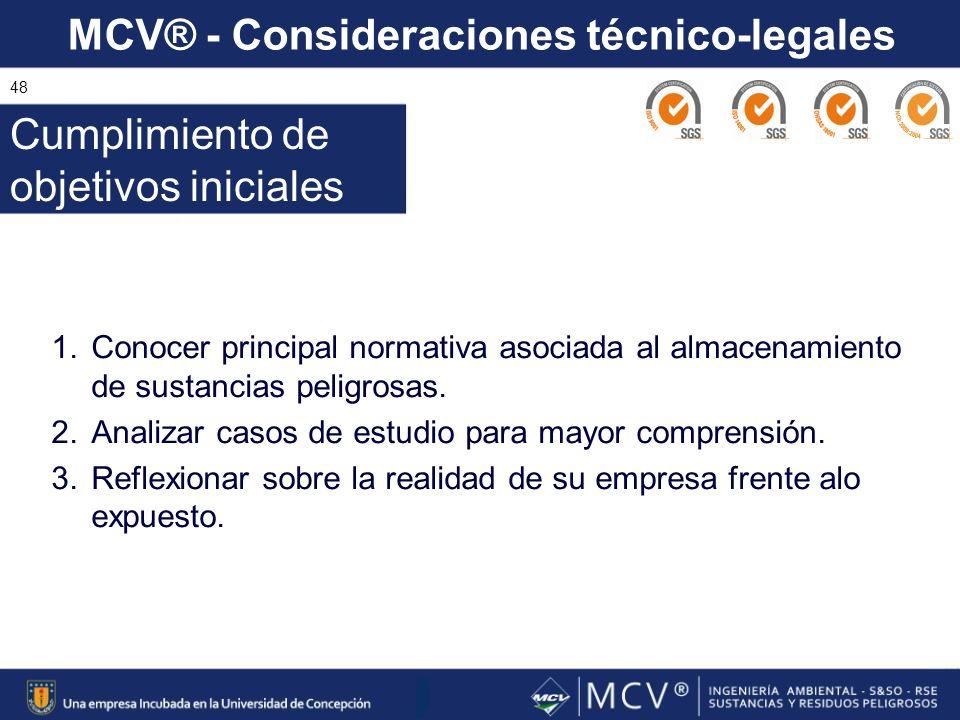 MCV® - Consideraciones técnico-legales 48 1.Conocer principal normativa asociada al almacenamiento de sustancias peligrosas. 2.Analizar casos de estud