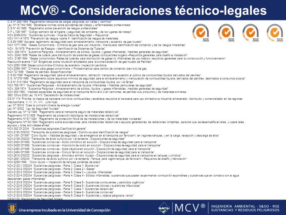 MCV® - Consideraciones técnico-legales 7 D.S Nº 298/1994 Reglamenta transporte de cargas peligrosas por calles y caminos Ley Nº 16.744/1968 Establece