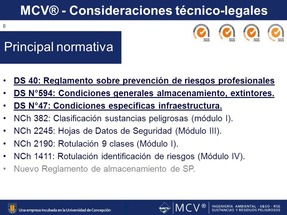 MCV® - Consideraciones técnico-legales 8 DS 40: Reglamento sobre prevención de riesgos profesionales DS N°594: Condiciones generales almacenamiento, e
