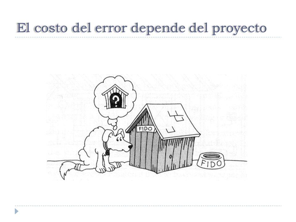El costo del error depende del proyecto