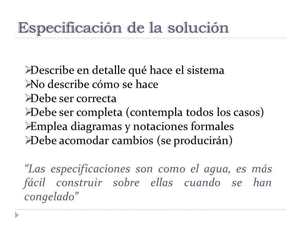 Especificación de la solución Describe en detalle qué hace el sistema No describe cómo se hace Debe ser correcta Debe ser completa (contempla todos lo