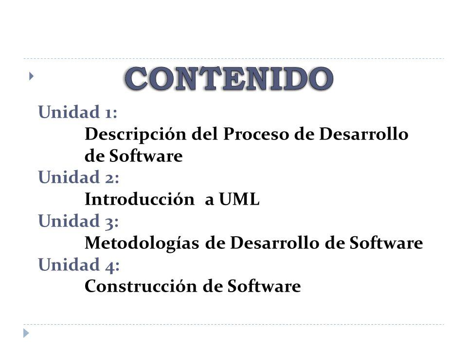 Unidad 1: Descripción del Proceso de Desarrollo de Software Unidad 2: Introducción a UML Unidad 3: Metodologías de Desarrollo de Software Unidad 4: Co
