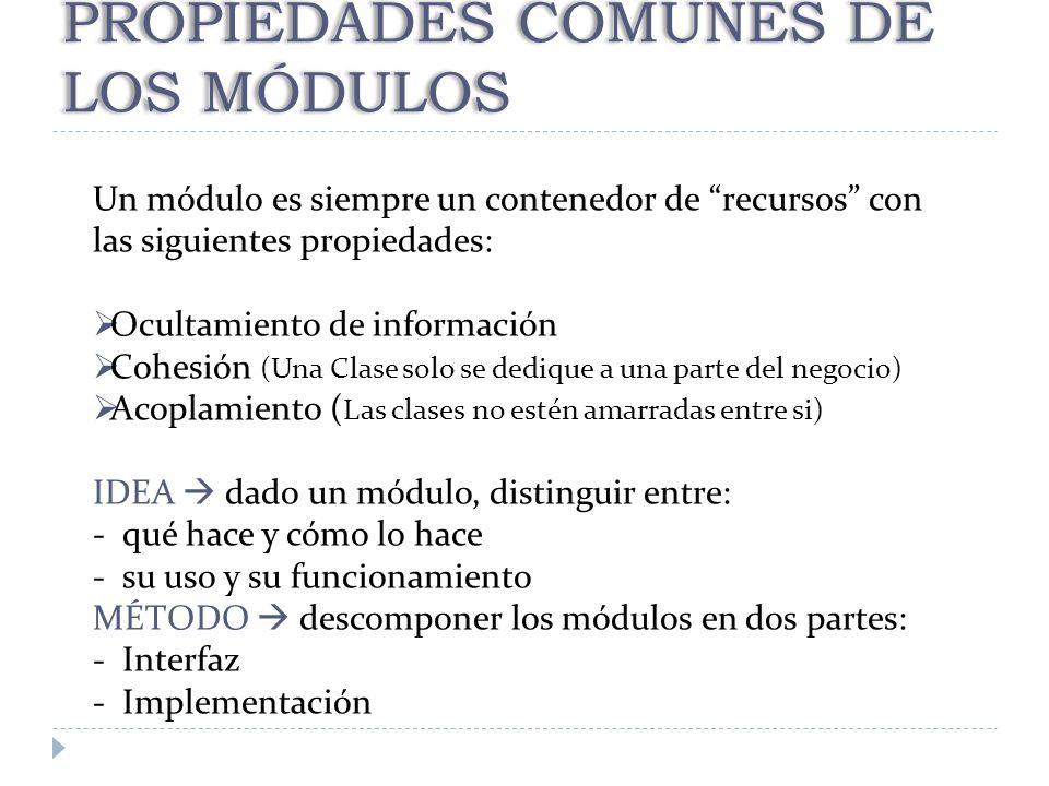 PROPIEDADES COMUNES DE LOS MÓDULOS Un módulo es siempre un contenedor de recursos con las siguientes propiedades: Ocultamiento de información Cohesión