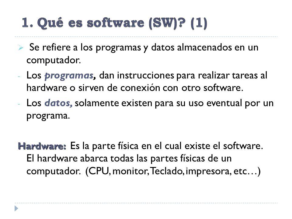 Se refiere a los programas y datos almacenados en un computador. - Los programas, dan instrucciones para realizar tareas al hardware o sirven de conex