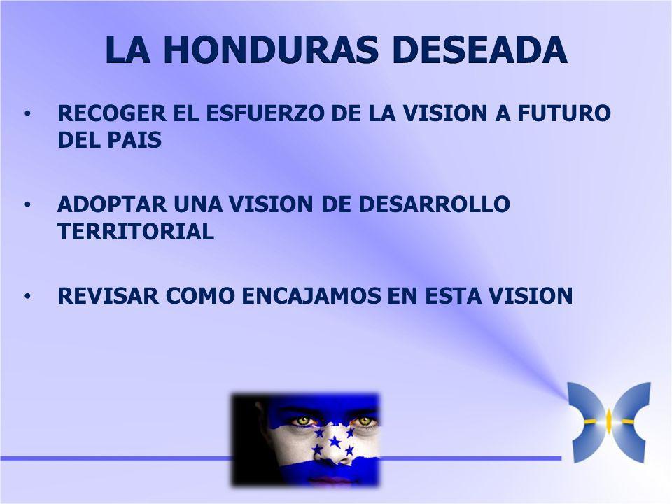 RECOGER EL ESFUERZO DE LA VISION A FUTURO DEL PAIS ADOPTAR UNA VISION DE DESARROLLO TERRITORIAL REVISAR COMO ENCAJAMOS EN ESTA VISION