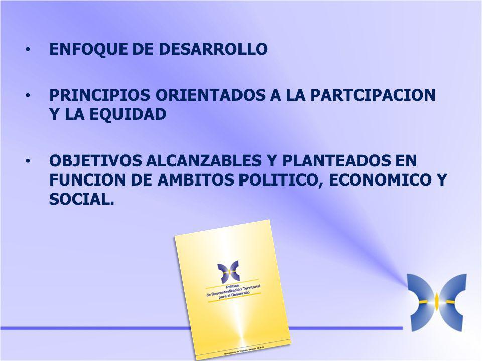 ENFOQUE DE DESARROLLO PRINCIPIOS ORIENTADOS A LA PARTCIPACION Y LA EQUIDAD OBJETIVOS ALCANZABLES Y PLANTEADOS EN FUNCION DE AMBITOS POLITICO, ECONOMICO Y SOCIAL.