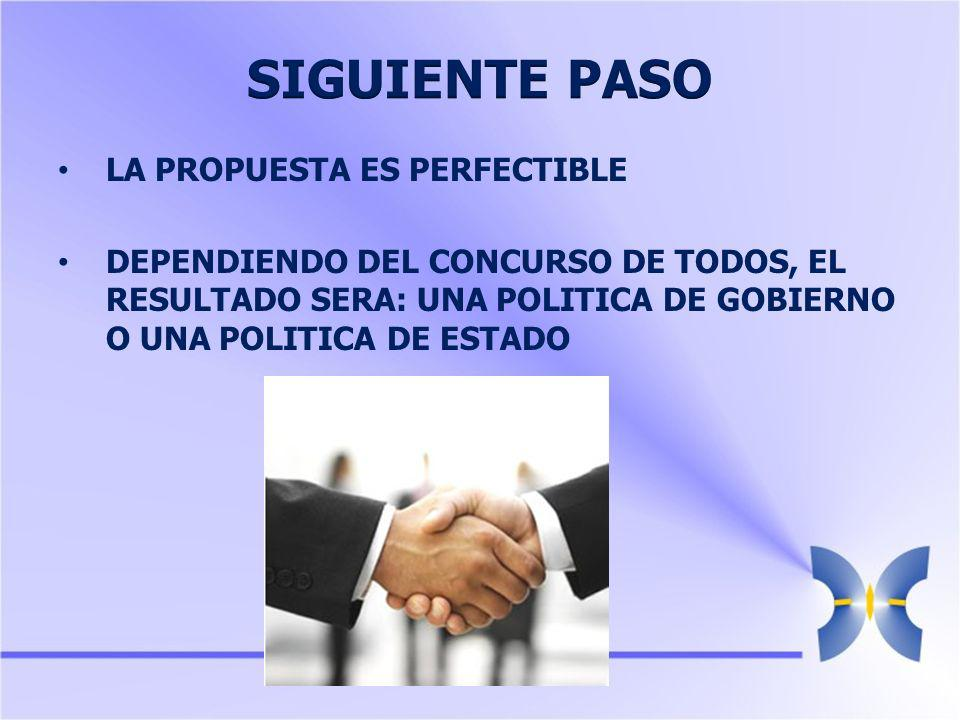 LA PROPUESTA ES PERFECTIBLE DEPENDIENDO DEL CONCURSO DE TODOS, EL RESULTADO SERA: UNA POLITICA DE GOBIERNO O UNA POLITICA DE ESTADO