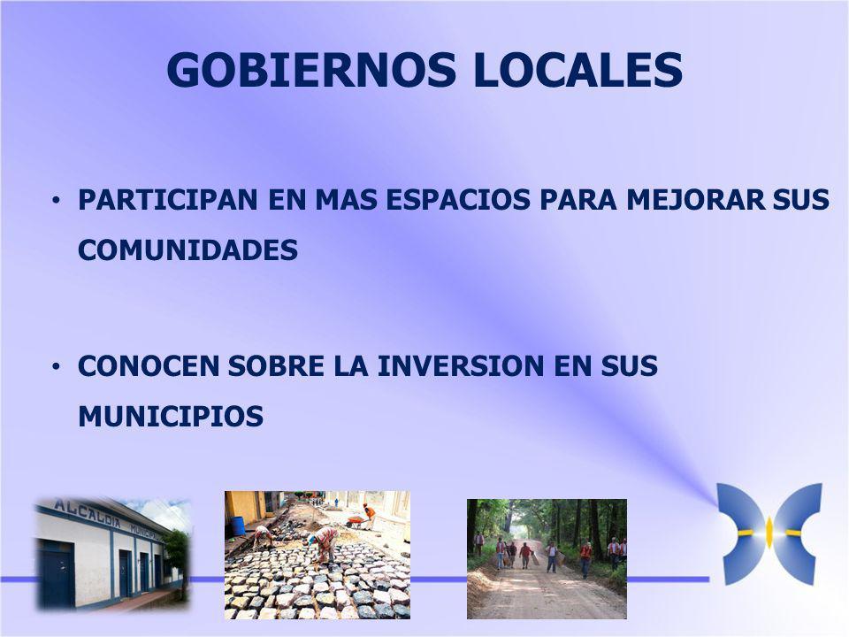 GOBIERNOS LOCALES PARTICIPAN EN MAS ESPACIOS PARA MEJORAR SUS COMUNIDADES CONOCEN SOBRE LA INVERSION EN SUS MUNICIPIOS