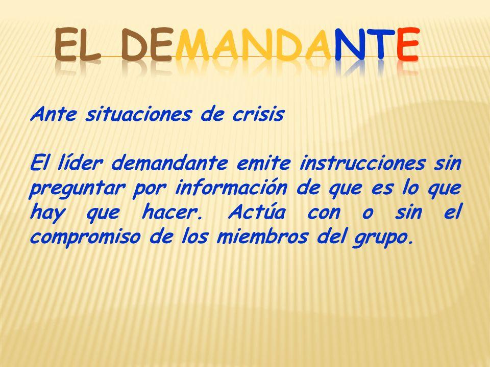 Ante situaciones de crisis El líder demandante emite instrucciones sin preguntar por información de que es lo que hay que hacer.