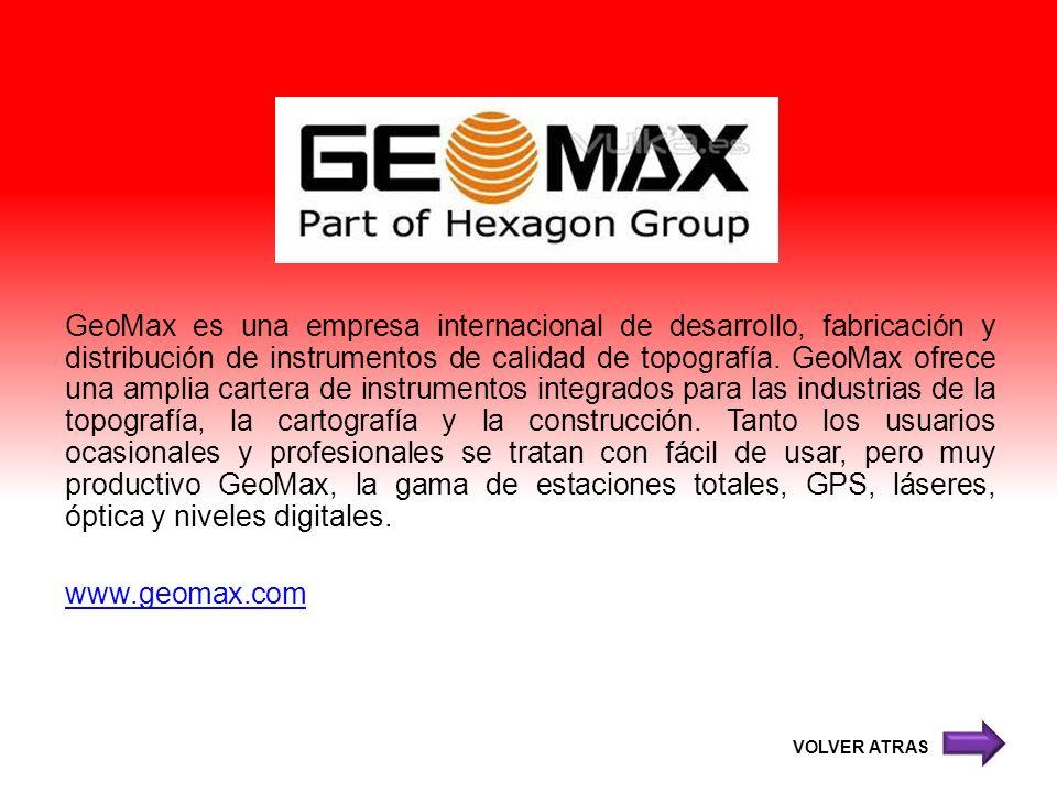 GeoMax es una empresa internacional de desarrollo, fabricación y distribución de instrumentos de calidad de topografía. GeoMax ofrece una amplia carte
