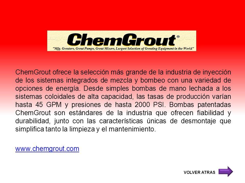 ChemGrout ofrece la selección más grande de la industria de inyección de los sistemas integrados de mezcla y bombeo con una variedad de opciones de en