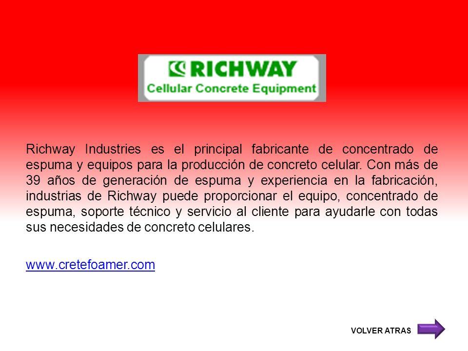 Richway Industries es el principal fabricante de concentrado de espuma y equipos para la producción de concreto celular. Con más de 39 años de generac