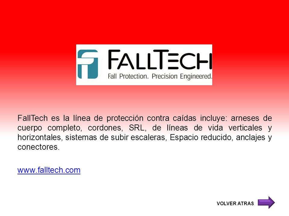 FallTech es la línea de protección contra caídas incluye: arneses de cuerpo completo, cordones, SRL, de líneas de vida verticales y horizontales, sist