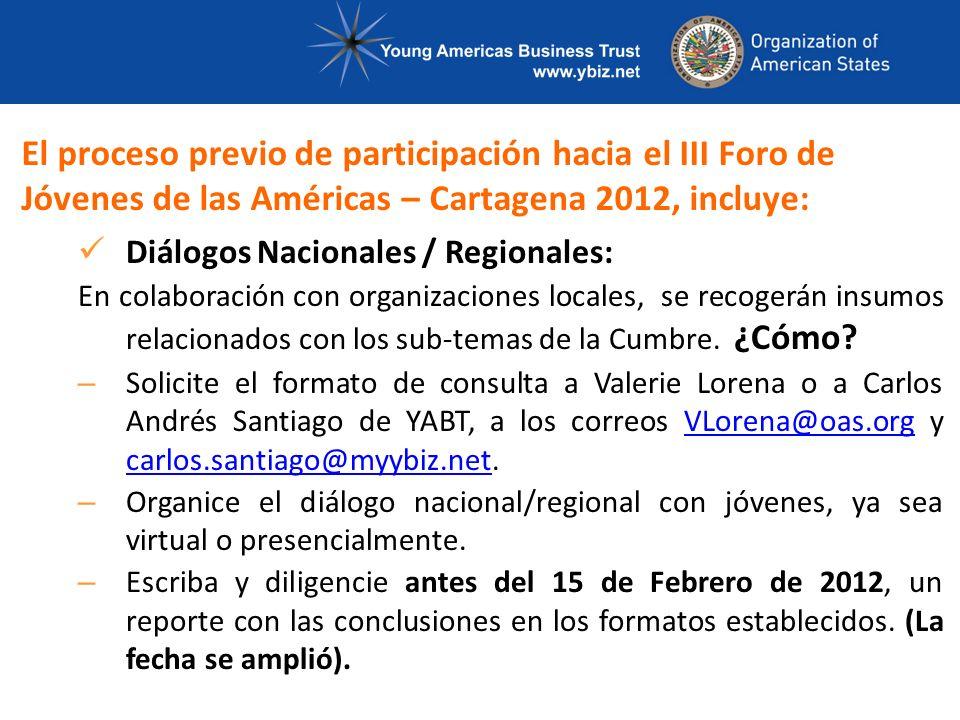 Diálogos Nacionales / Regionales: En colaboración con organizaciones locales, se recogerán insumos relacionados con los sub-temas de la Cumbre.