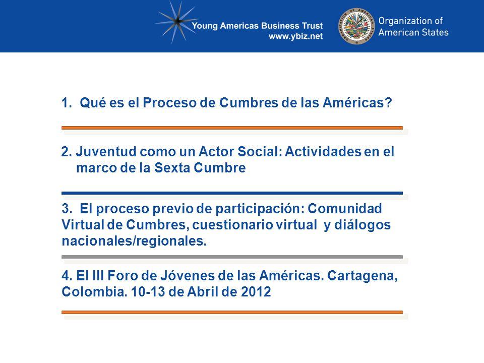 1. Qué es el Proceso de Cumbres de las Américas. 2.