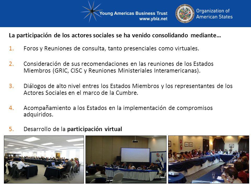 La participación de los actores sociales se ha venido consolidando mediante… 1.Foros y Reuniones de consulta, tanto presenciales como virtuales.