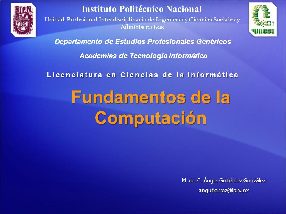 Fundamentos de la Computación Objetivos: Al término de este curso el alumno: Habrá adquirido los conocimientos generales acerca de la computación, así como la arquitectura y funcionamiento de la computadora digital además de sus periféricos.