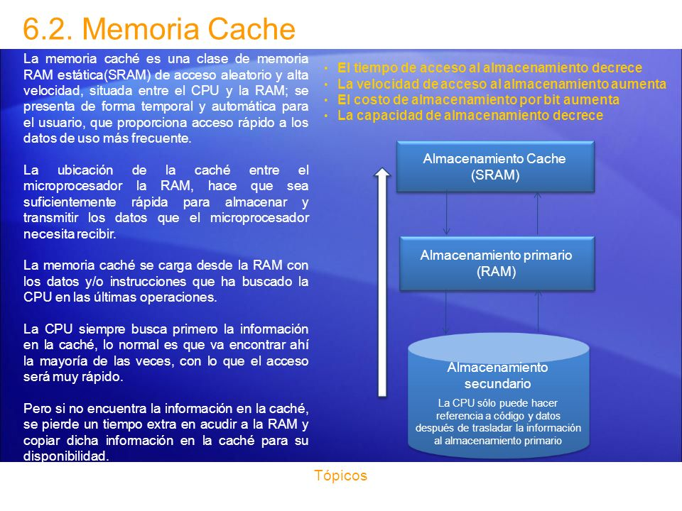 Las memorias caché son extremadamente rápidas, con la ventaja añadida de no tener latencia, por lo que su acceso no tiene ninguna demora...