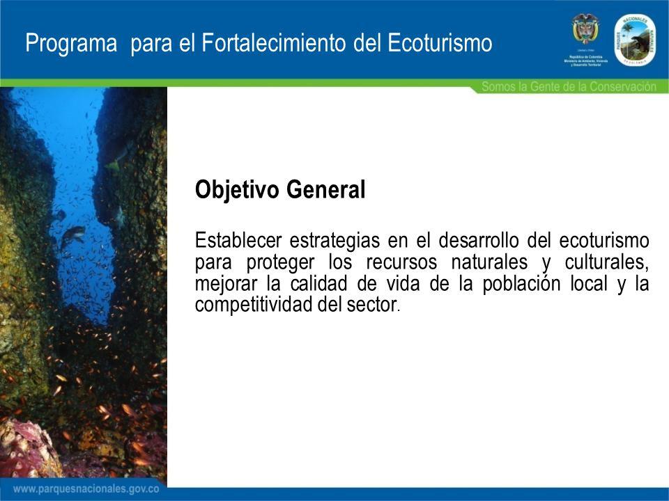 Objetivo General Establecer estrategias en el desarrollo del ecoturismo para proteger los recursos naturales y culturales, mejorar la calidad de vida