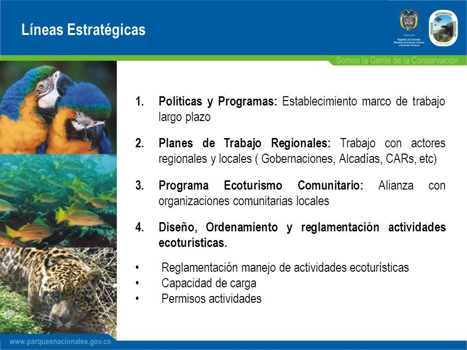 Líneas Estratégicas 1. Políticas y Programas: Establecimiento marco de trabajo largo plazo 2. Planes de Trabajo Regionales: Trabajo con actores region
