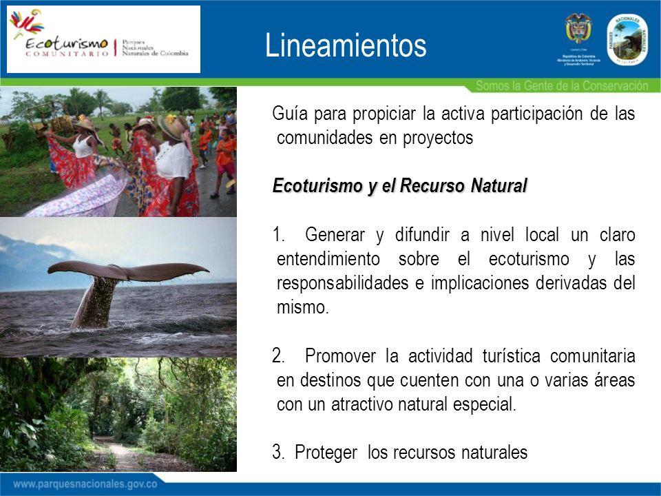 Lineamientos Guía para propiciar la activa participación de las comunidades en proyectos Ecoturismo y el Recurso Natural 1.Generar y difundir a nivel