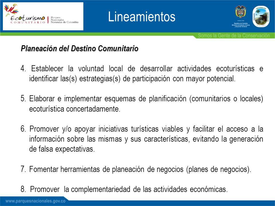 Planeación del Destino Comunitario 4. Establecer la voluntad local de desarrollar actividades ecoturísticas e identificar las(s) estrategias(s) de par