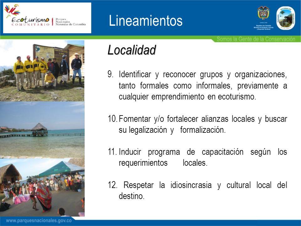 Localidad 9.Identificar y reconocer grupos y organizaciones, tanto formales como informales, previamente a cualquier emprendimiento en ecoturismo. 10.