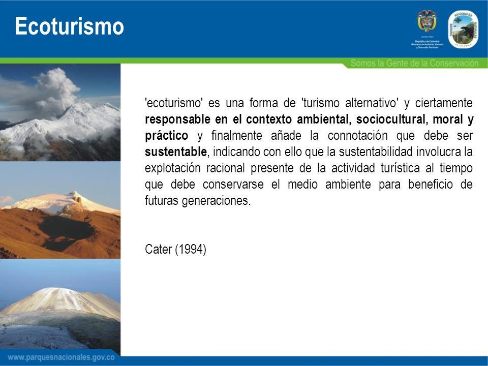'ecoturismo' es una forma de 'turismo alternativo' y ciertamente responsable en el contexto ambiental, sociocultural, moral y práctico y finalmente añ