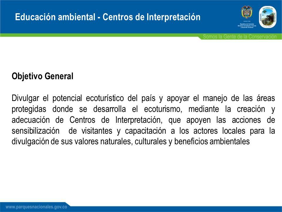 Educación ambiental - Centros de Interpretación Objetivo General Divulgar el potencial ecoturístico del país y apoyar el manejo de las áreas protegida