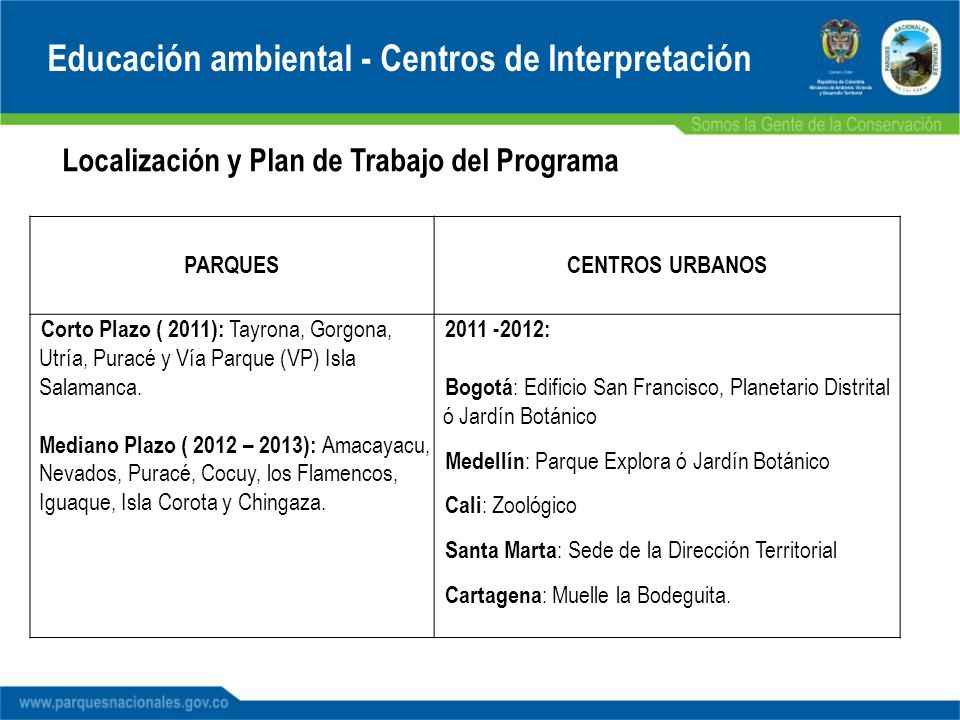 Localización y Plan de Trabajo del Programa PARQUESCENTROS URBANOS Corto Plazo ( 2011): Tayrona, Gorgona, Utría, Puracé y Vía Parque (VP) Isla Salaman