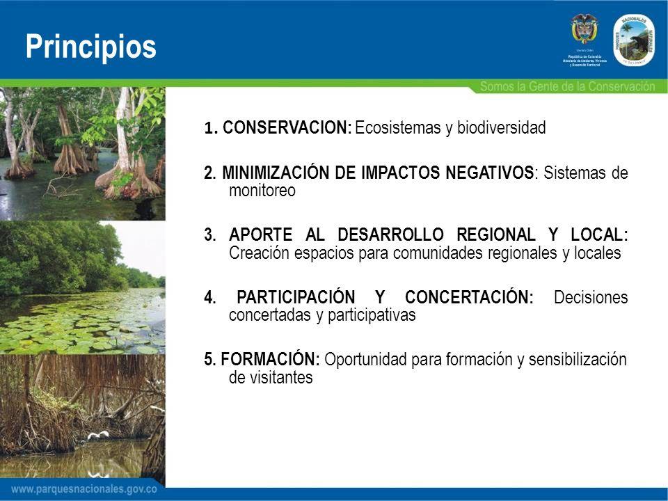 1. CONSERVACION: Ecosistemas y biodiversidad 2. MINIMIZACIÓN DE IMPACTOS NEGATIVOS : Sistemas de monitoreo 3. APORTE AL DESARROLLO REGIONAL Y LOCAL: C