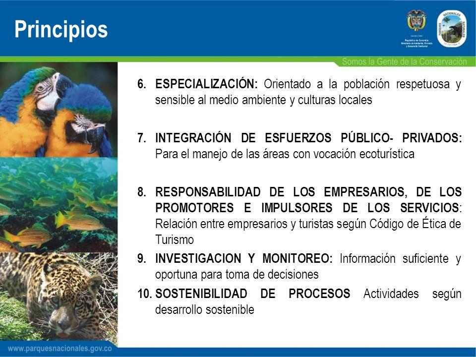 6.ESPECIALIZACIÓN: Orientado a la población respetuosa y sensible al medio ambiente y culturas locales 7.INTEGRACIÓN DE ESFUERZOS PÚBLICO- PRIVADOS: P