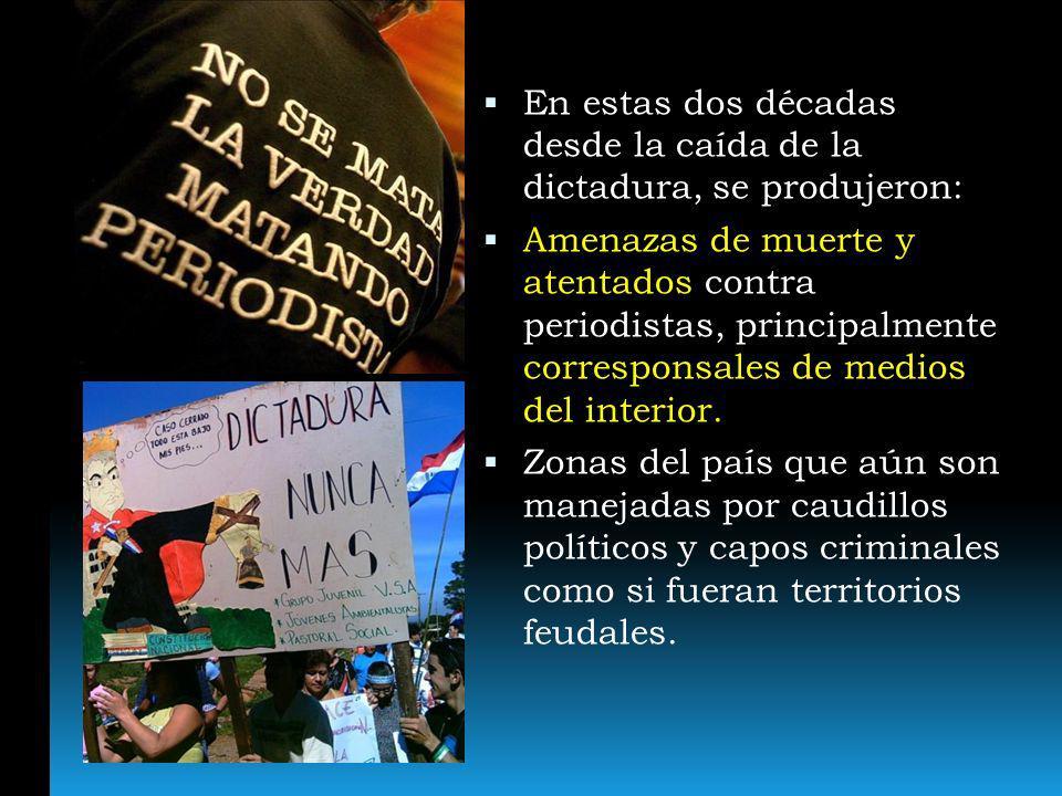 En estas dos décadas desde la caída de la dictadura, se produjeron: Amenazas de muerte y atentados contra periodistas, principalmente corresponsales d