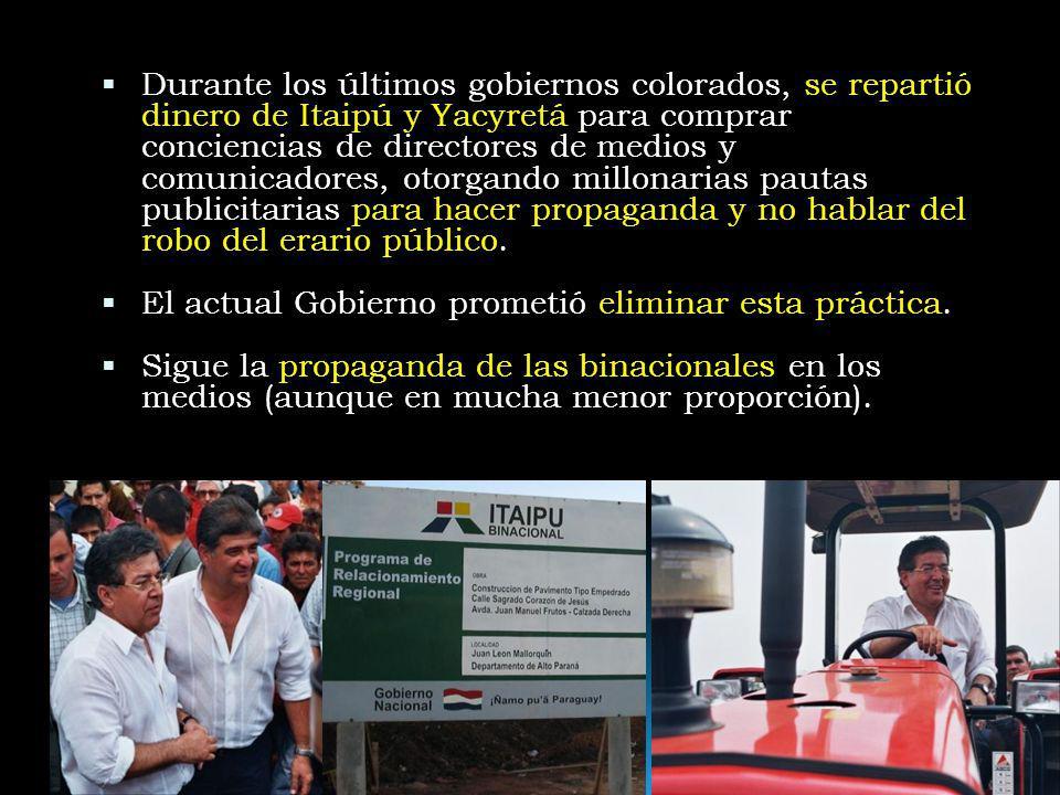 Durante los últimos gobiernos colorados, se repartió dinero de Itaipú y Yacyretá para comprar conciencias de directores de medios y comunicadores, oto
