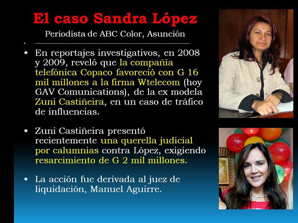 El caso Sandra López Periodista de ABC Color, Asunción -----------------------------------------------------------------------------------------------