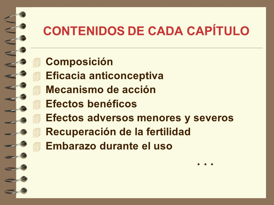 CONTENIDOS DE CADA CAPÍTULO Composición Eficacia anticonceptiva Mecanismo de acción Efectos benéficos Efectos adversos menores y severos Recuperación