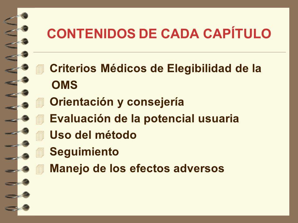CONTENIDOS DE CADA CAPÍTULO Criterios Médicos de Elegibilidad de la OMS Orientación y consejería Evaluación de la potencial usuaria Uso del método Seg