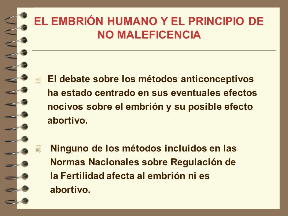 El debate sobre los métodos anticonceptivos ha estado centrado en sus eventuales efectos nocivos sobre el embrión y su posible efecto abortivo. Ningun