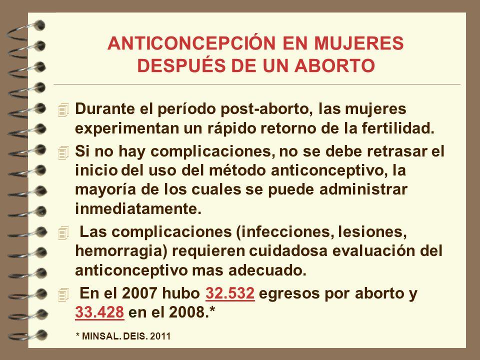 Durante el período post-aborto, las mujeres experimentan un rápido retorno de la fertilidad. Si no hay complicaciones, no se debe retrasar el inicio d