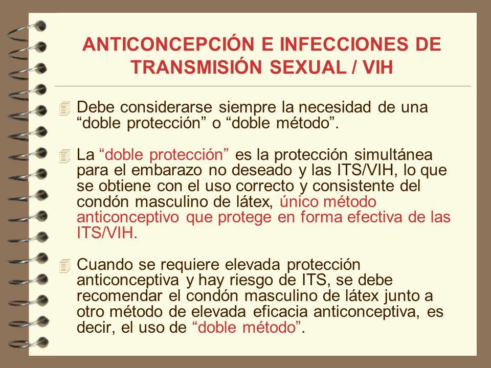 ANTICONCEPCIÓN E INFECCIONES DE TRANSMISIÓN SEXUAL / VIH Debe considerarse siempre la necesidad de una doble protección o doble método. La doble prote