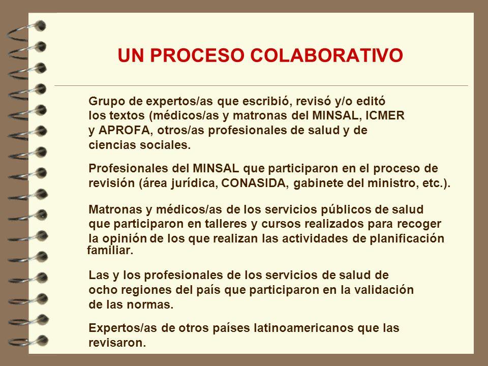 Grupo de expertos/as que escribió, revisó y/o editó los textos (médicos/as y matronas del MINSAL, ICMER y APROFA, otros/as profesionales de salud y de