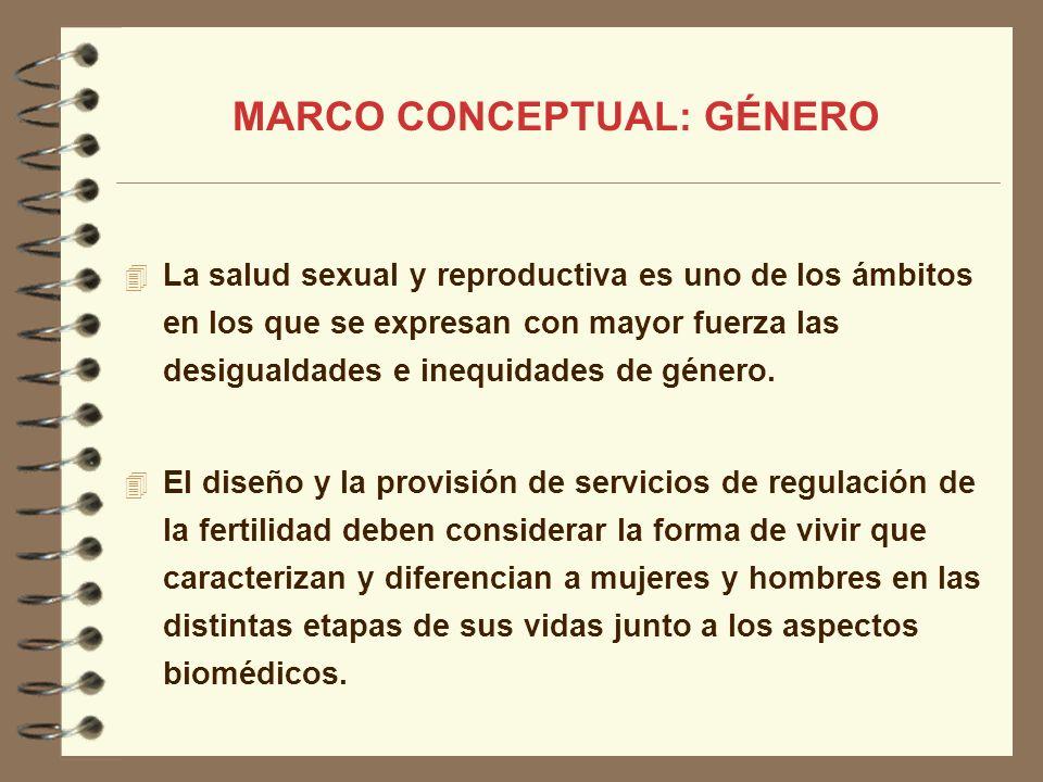 MARCO CONCEPTUAL: GÉNERO La salud sexual y reproductiva es uno de los ámbitos en los que se expresan con mayor fuerza las desigualdades e inequidades