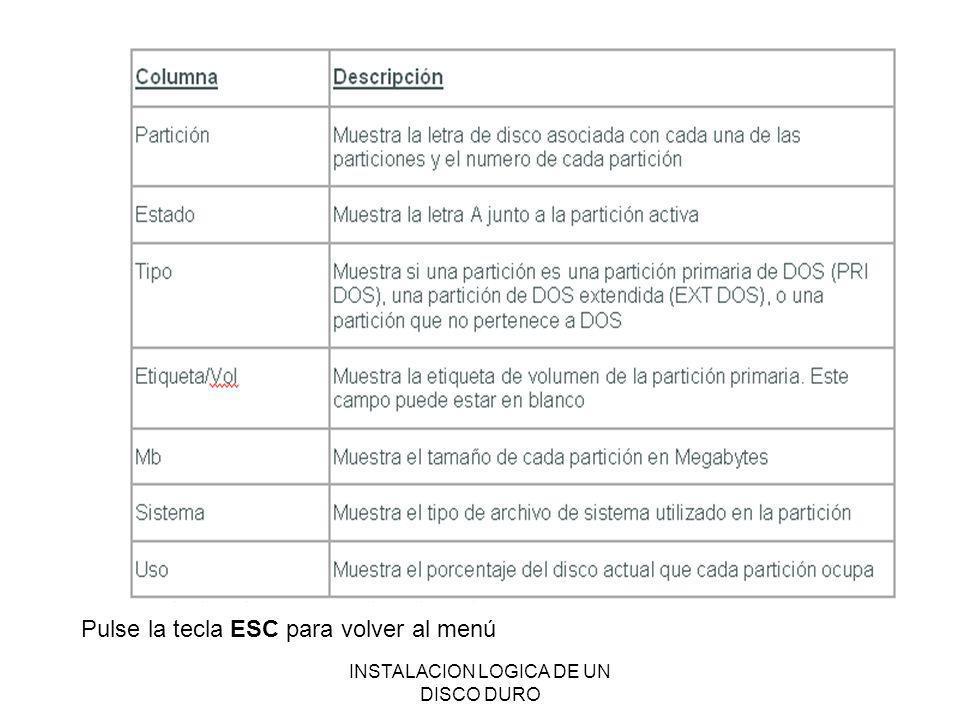 INSTALACION LOGICA DE UN DISCO DURO Pulse la tecla ESC para volver al menú