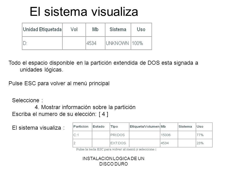 INSTALACION LOGICA DE UN DISCO DURO El sistema visualiza Todo el espacio disponible en la partición extendida de DOS esta signada a unidades lógicas.