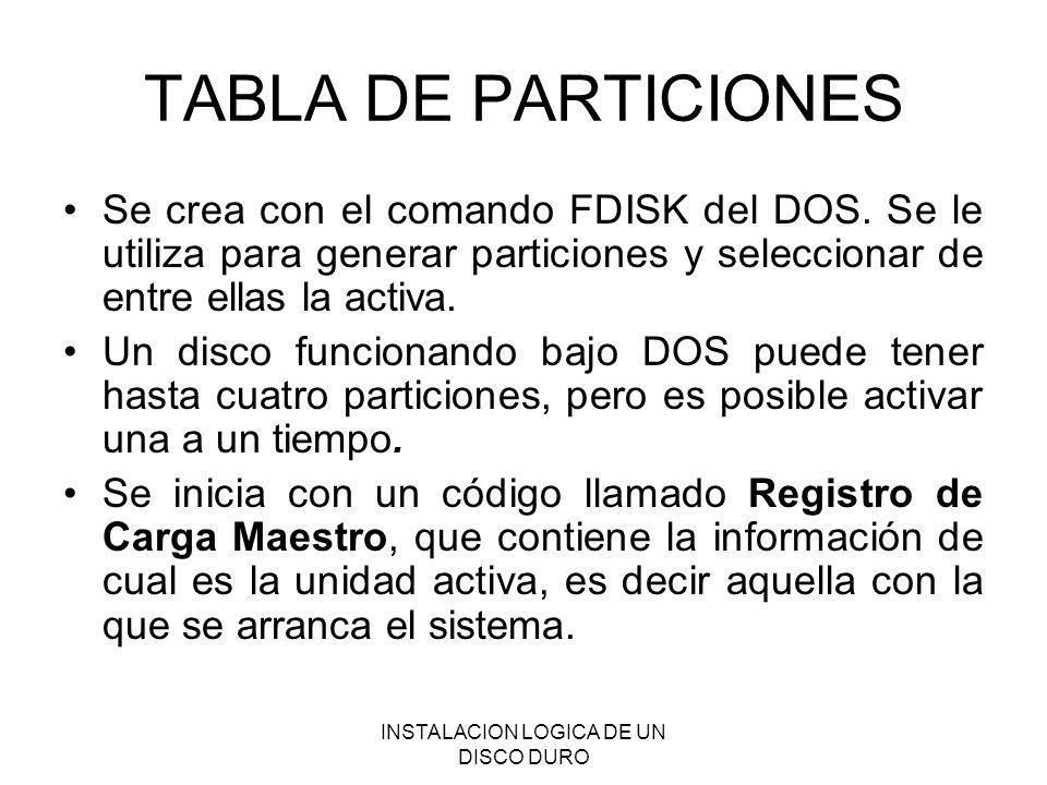 INSTALACION LOGICA DE UN DISCO DURO TABLA DE PARTICIONES Se crea con el comando FDISK del DOS. Se le utiliza para generar particiones y seleccionar de