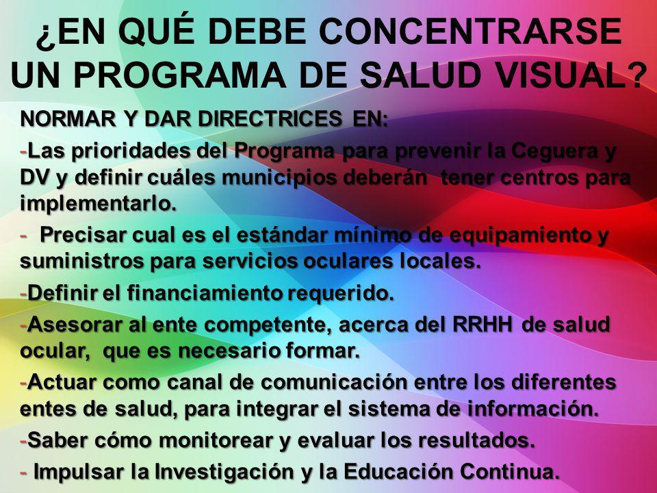 NORMAR Y DAR DIRECTRICES EN: -Las prioridades del Programa para prevenir la Ceguera y DV y definir cuáles municipios deberán tener centros para implem