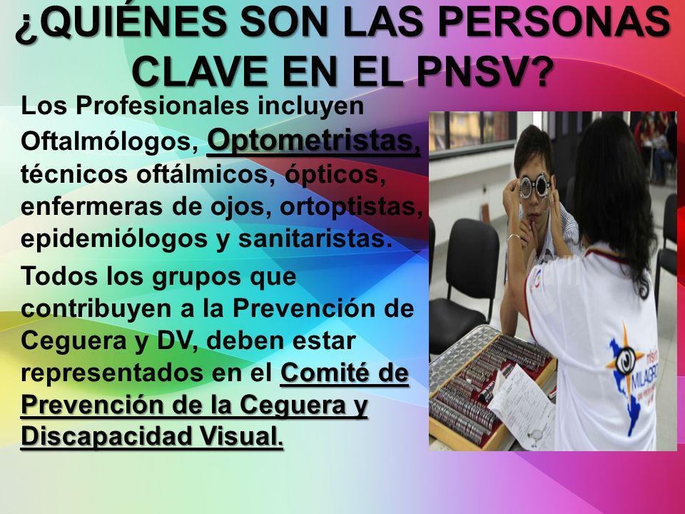 Optometristas, Los Profesionales incluyen Oftalmólogos, Optometristas, técnicos oftálmicos, ópticos, enfermeras de ojos, ortoptistas, epidemiólogos y