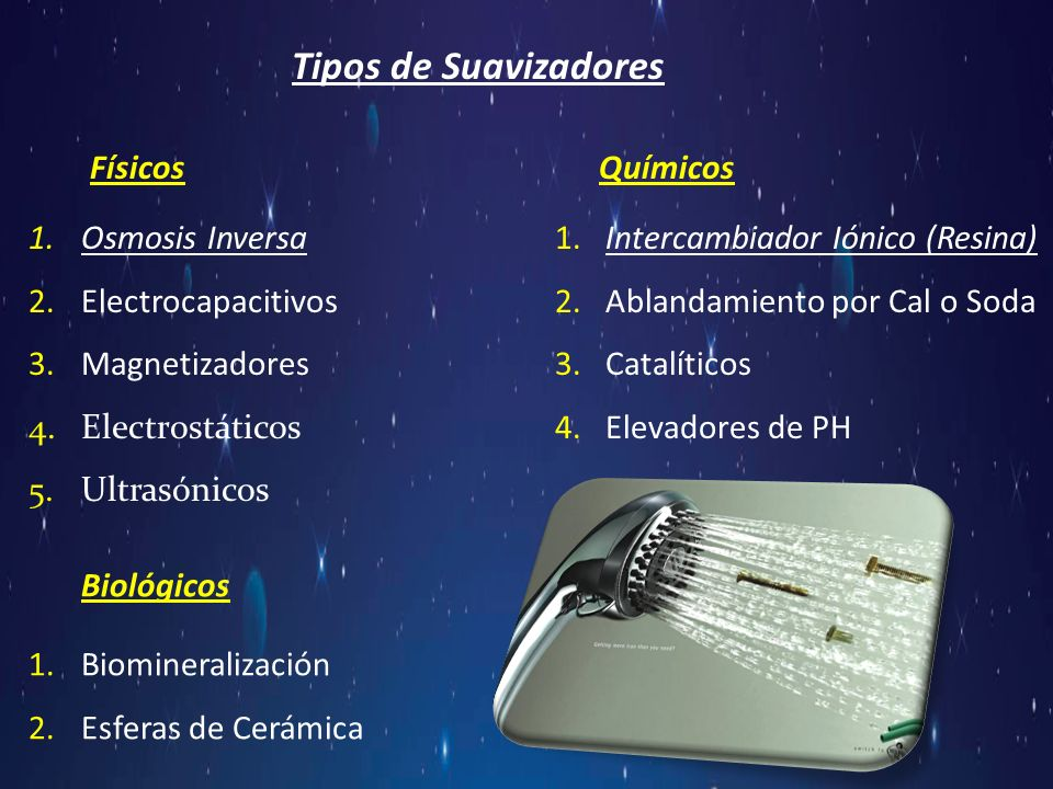Tipos de Suavizadores FísicosQuímicos 1.Osmosis Inversa1. Intercambiador Iónico (Resina) 2.Electrocapacitivos2. Ablandamiento por Cal o Soda 3.Magneti